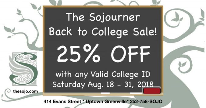 Sojourner Back to College Sale 2018