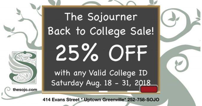 Sojourner Back to College Sale 2018